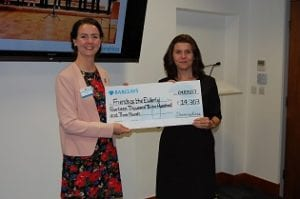 Our Fundraising Manager Gemma Leary with Donna McCarthy, Devonshires Partner at Devonshires charity cheque presentation on 4 May 2017