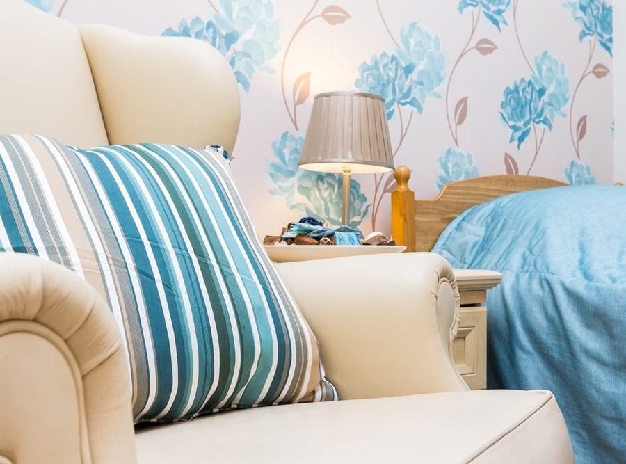 New Copford Place blue bedroom floral wallpaper 2 - cropped