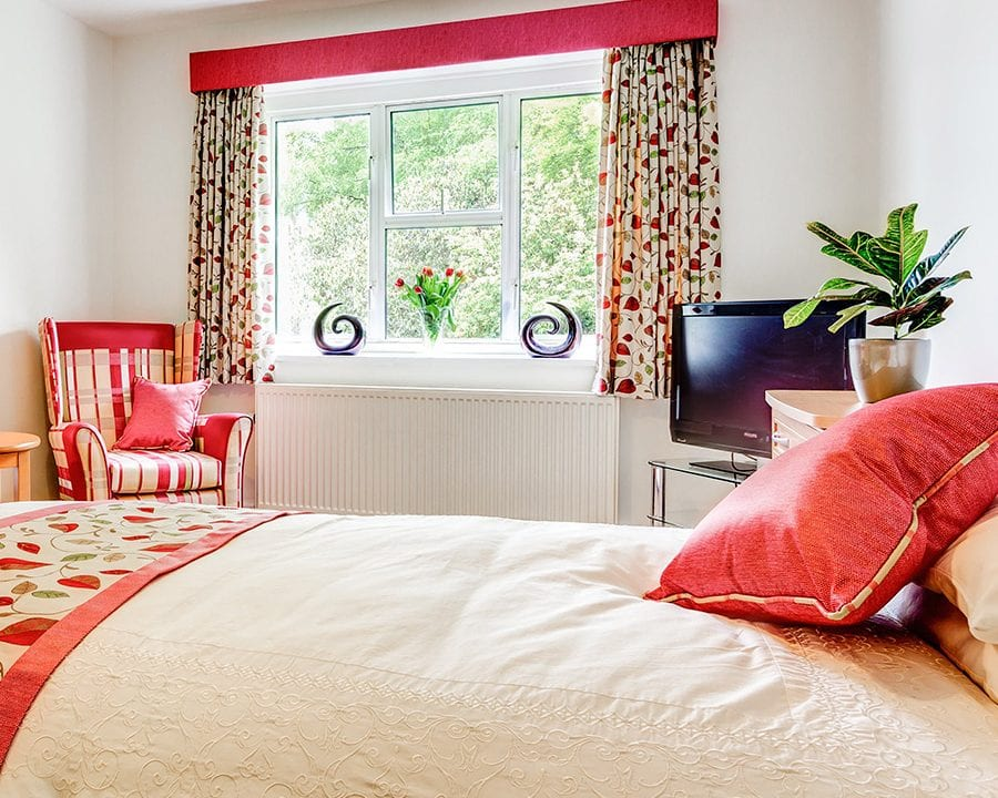 Redcot red and white floral bedroom