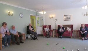 Anne Methold (right) with some of the residents of Bernard Sunley playing boules