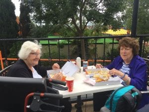 Service users enjoying fish and chips