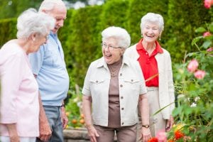 Older women and older man walking in garden