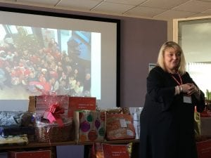 Kerry from Visiting Friends thanking ADP for their gift donations