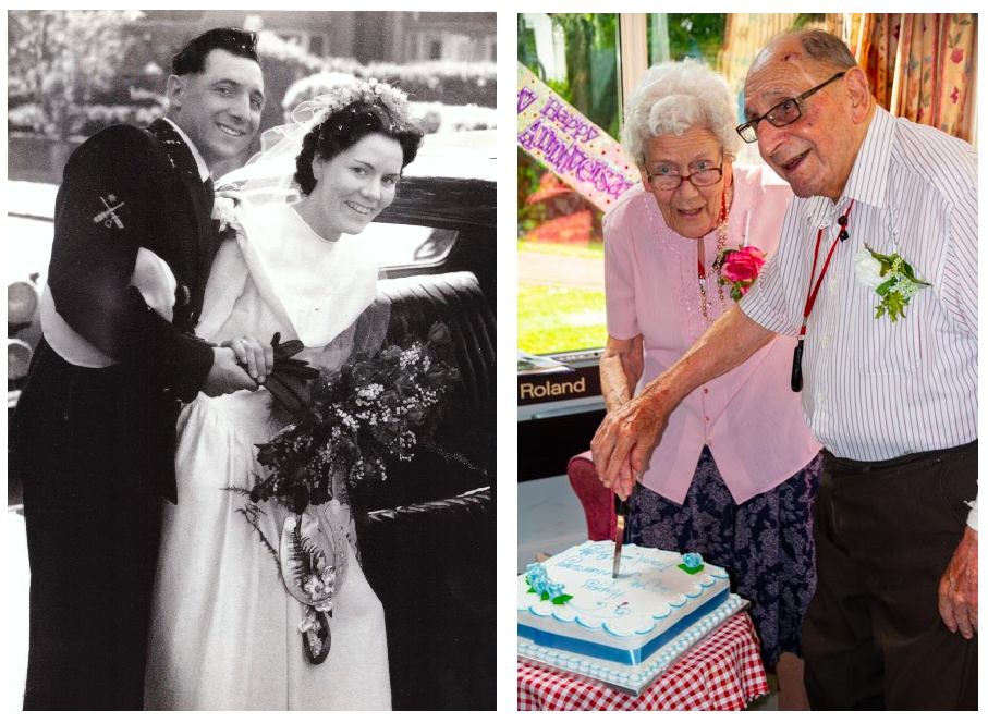 Betty and Frank on their wedding day and at their 70th wedding anniversary