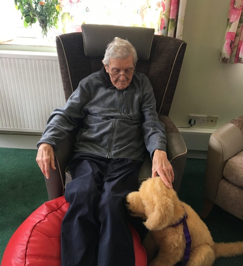 Resident with robotic dog