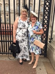 Sandra and Margaret at Buckingham Palace Garden Party