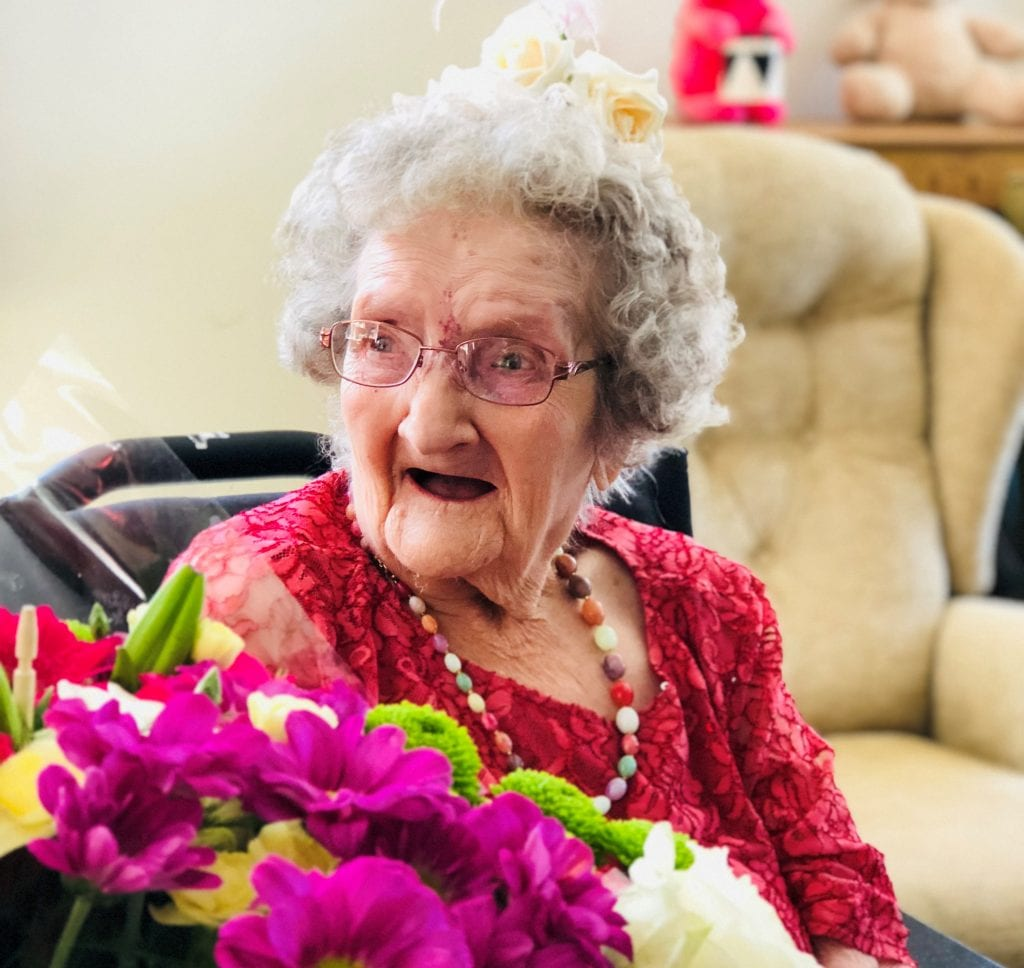 Kay celebrating at her 109th birthday party
