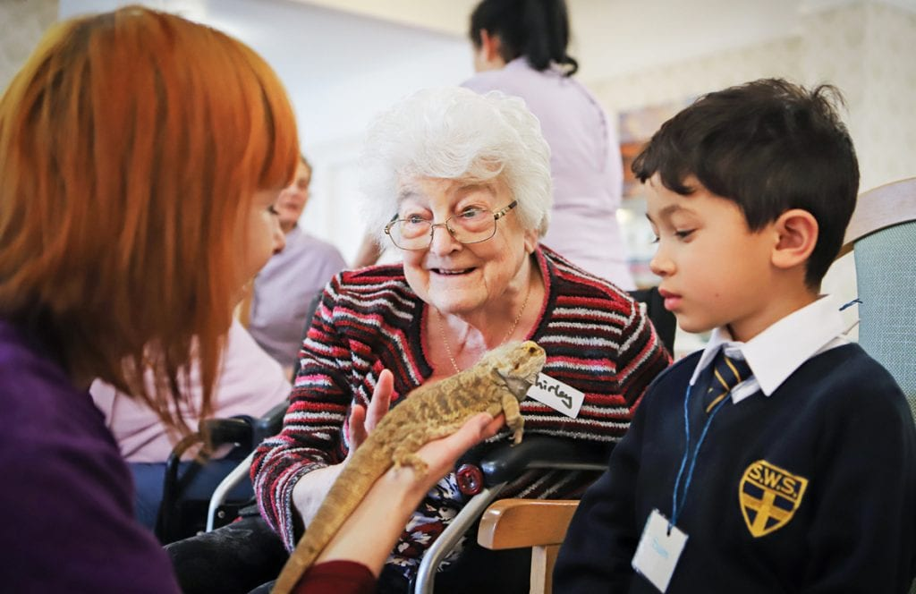 Bournemouth care home resident with a lizard