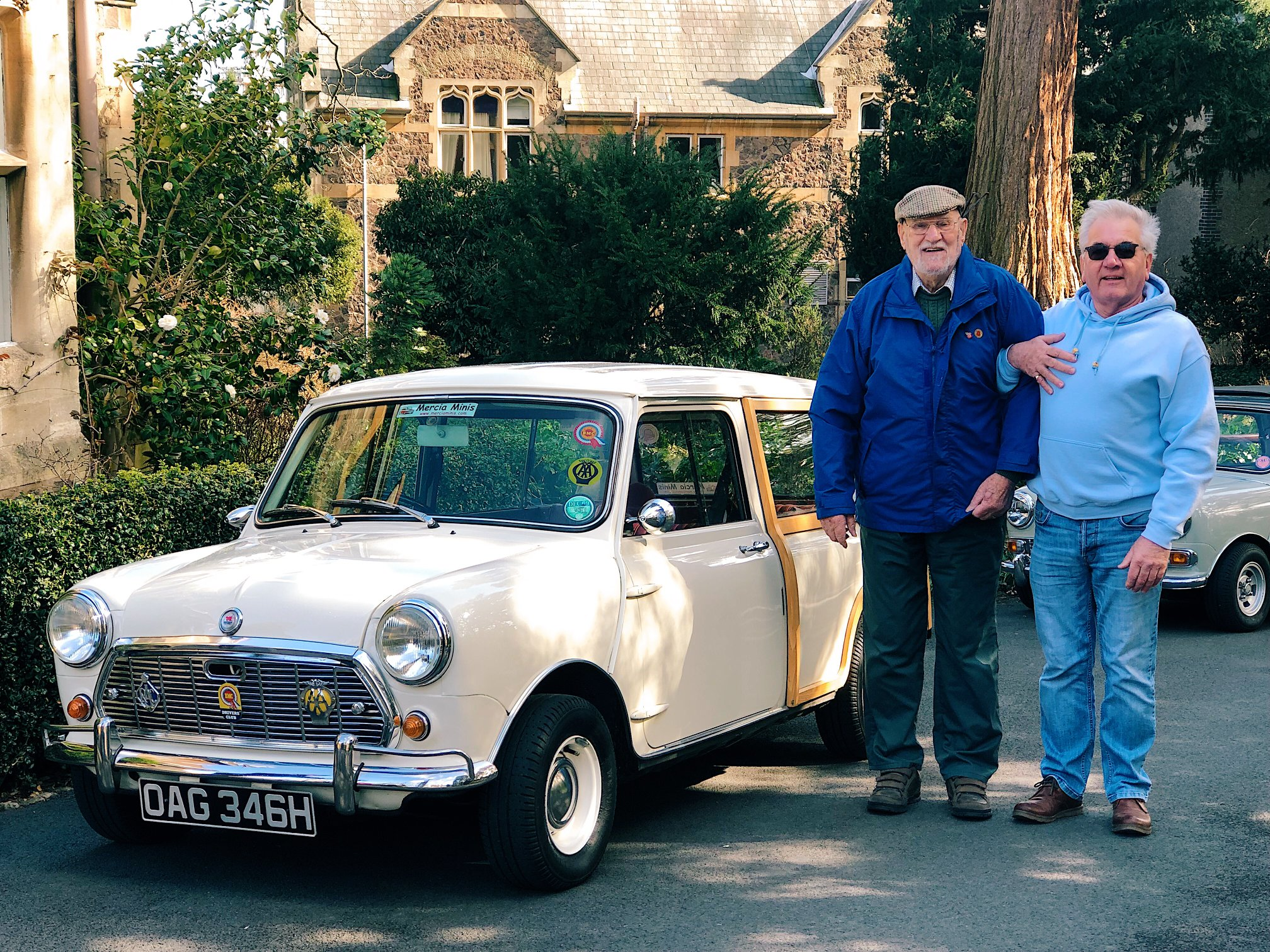 Worcestershire motoring club members with their car