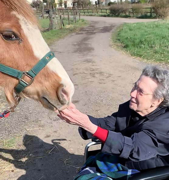 Resident from our Essex care home meeting a horse