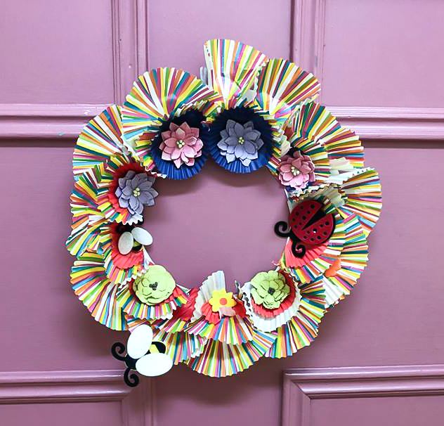 Easter door wreath made by a care home resident