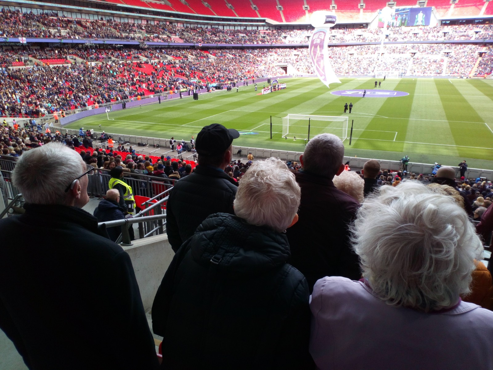 Any Old Irons participants watching the final at Wembley Stadium