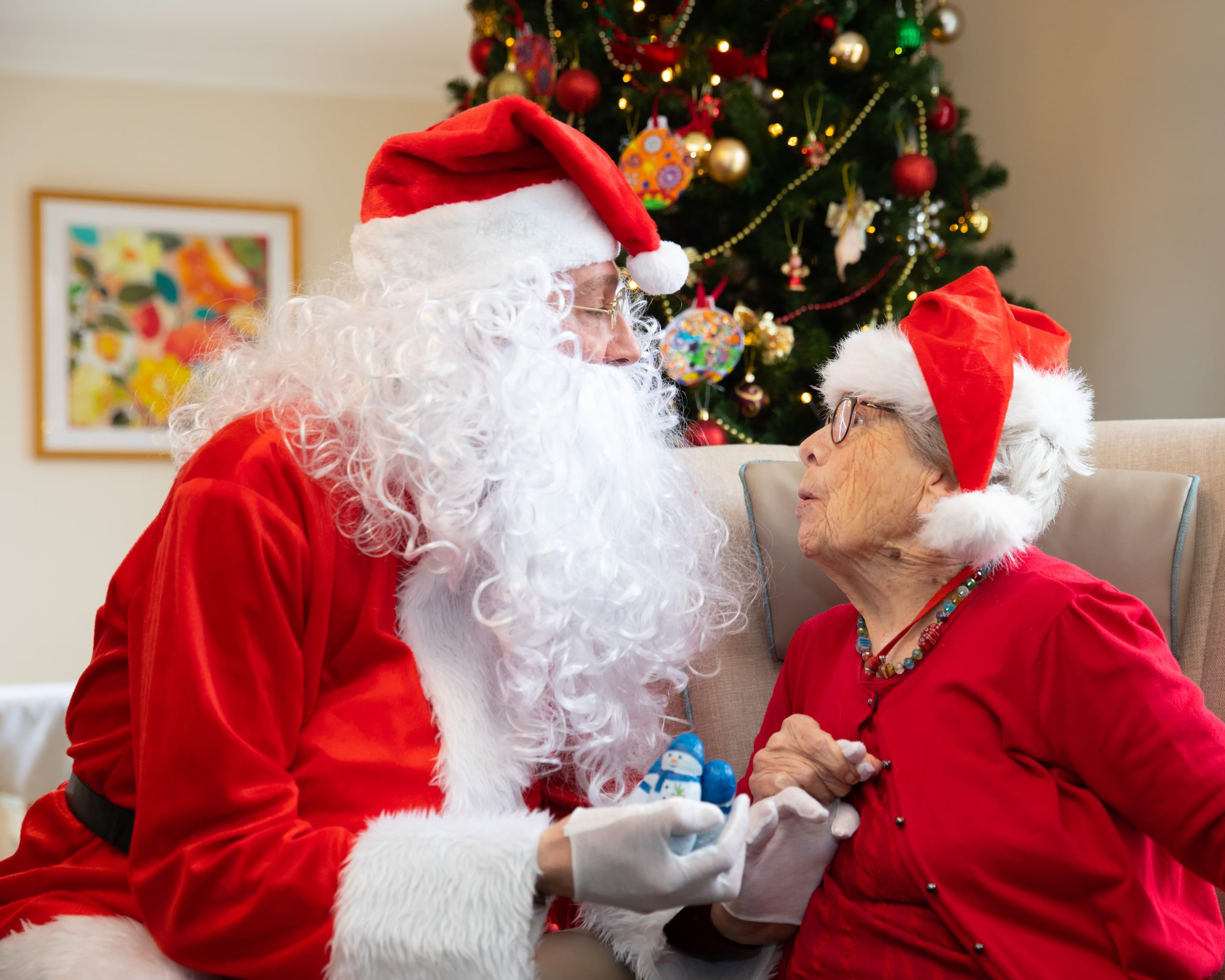 Santa and resident at Orford House care home