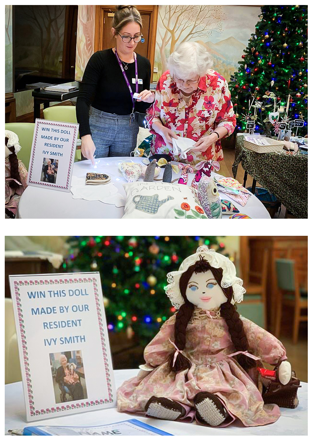 A resident stood at her Christmas Fayre stall and close up of the doll made by resident Ivy Smith