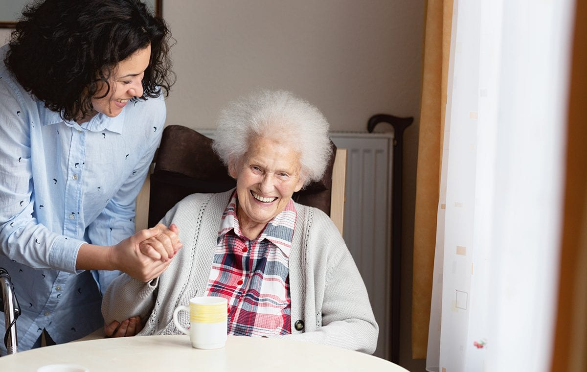 Senior woman getting care and assistance