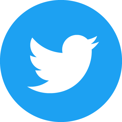 Twitter's logo_white bird in a blue circle