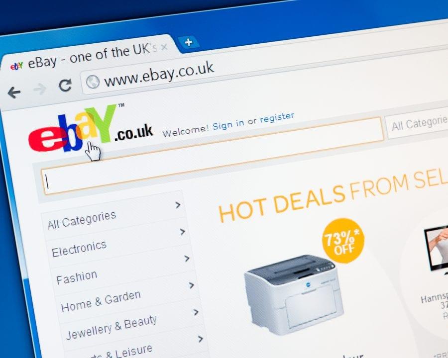 Ebay website homepage.