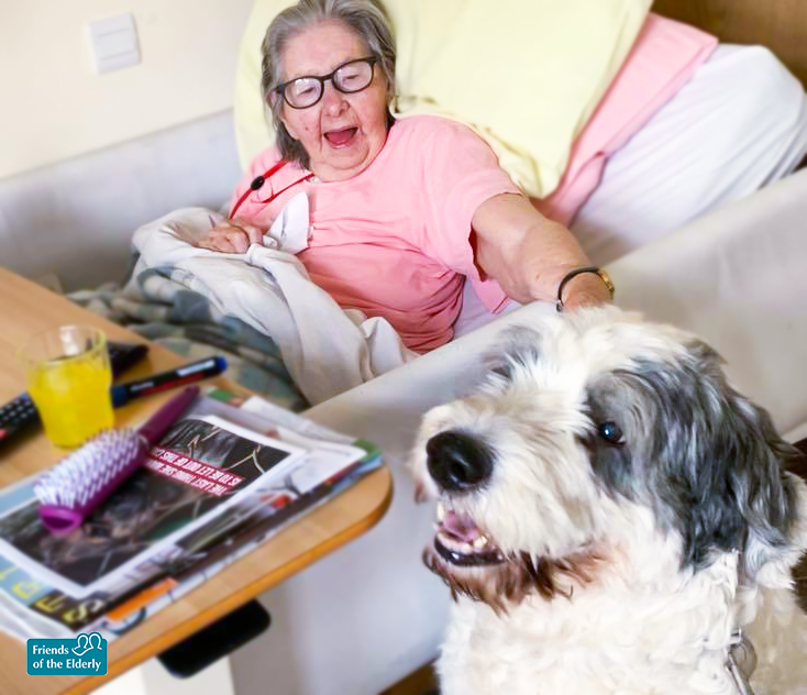 A resident from The Old Vicarage care home smiling and petting MJ the dog.