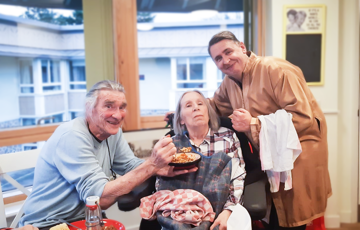 Bill, Val and a member of staff at our Malvern care home