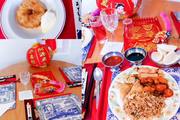 A variety of Chinese food and decorations used for the themed day at our Coulsdon care home
