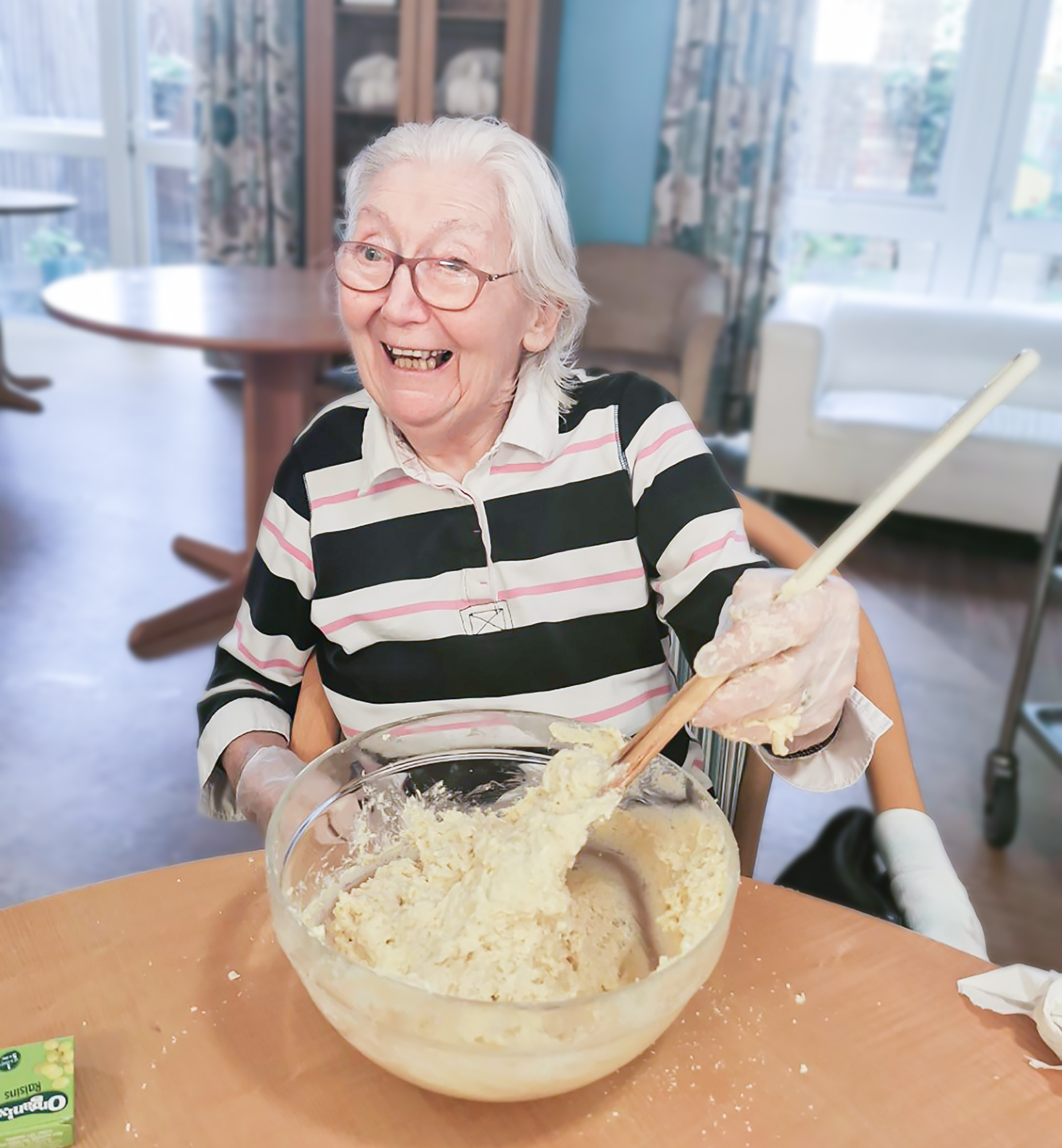 A Bernard Sunley care home resident baking scones