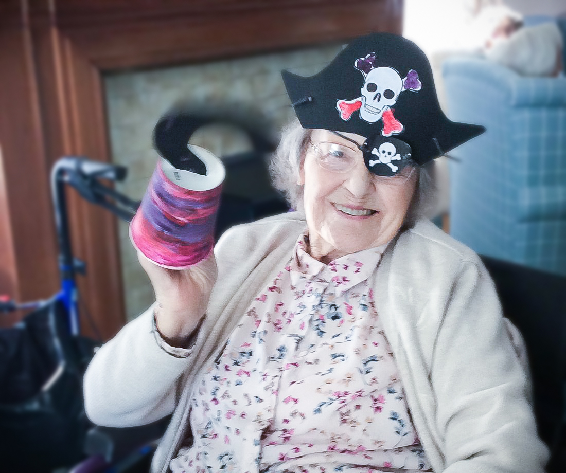 A resident at Redcot care home dressed as a pirate