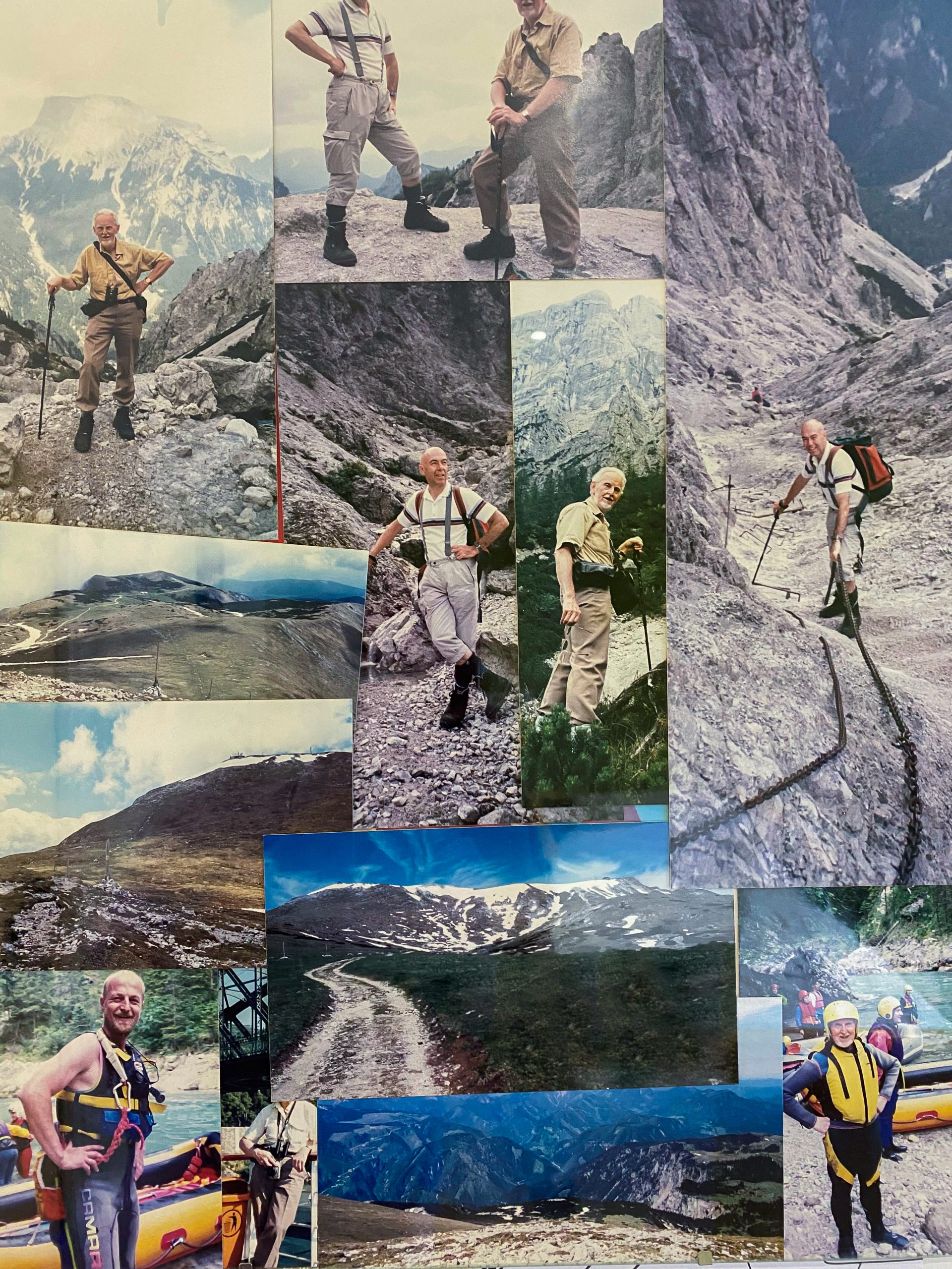A collage of images showing Woking resident Brian hiking in Austria