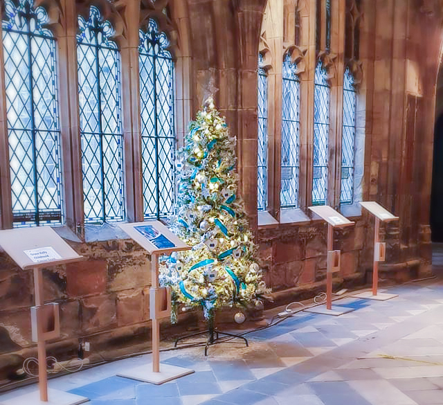 Friends of the Elderly decorated Christmas tree at Worcester Cathedral