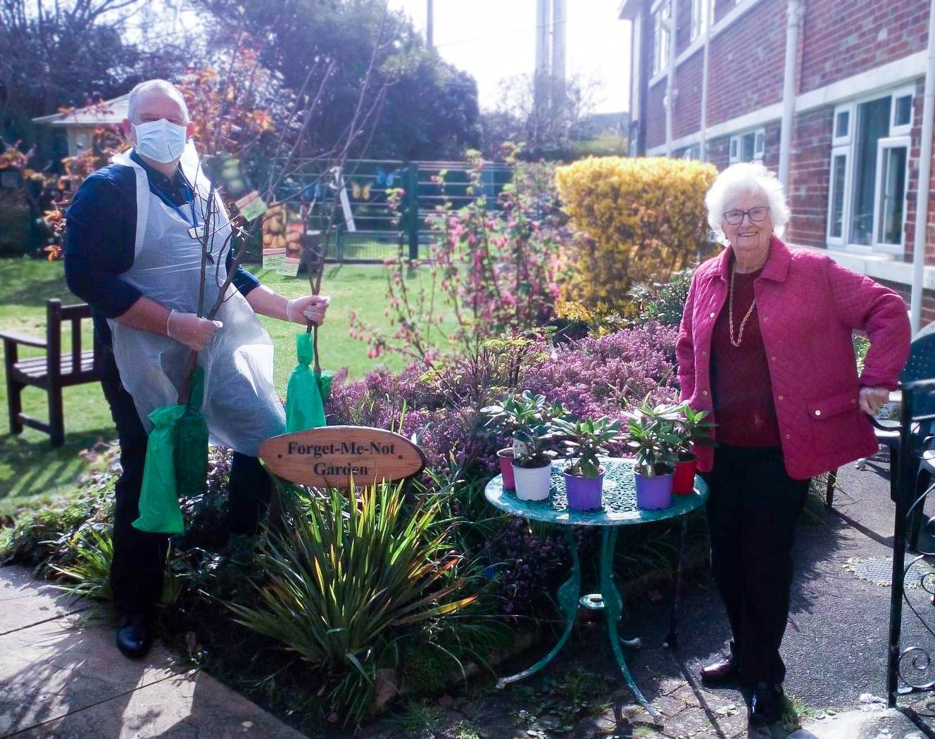 Planting trees at RNNH care home on National Day of Reflection