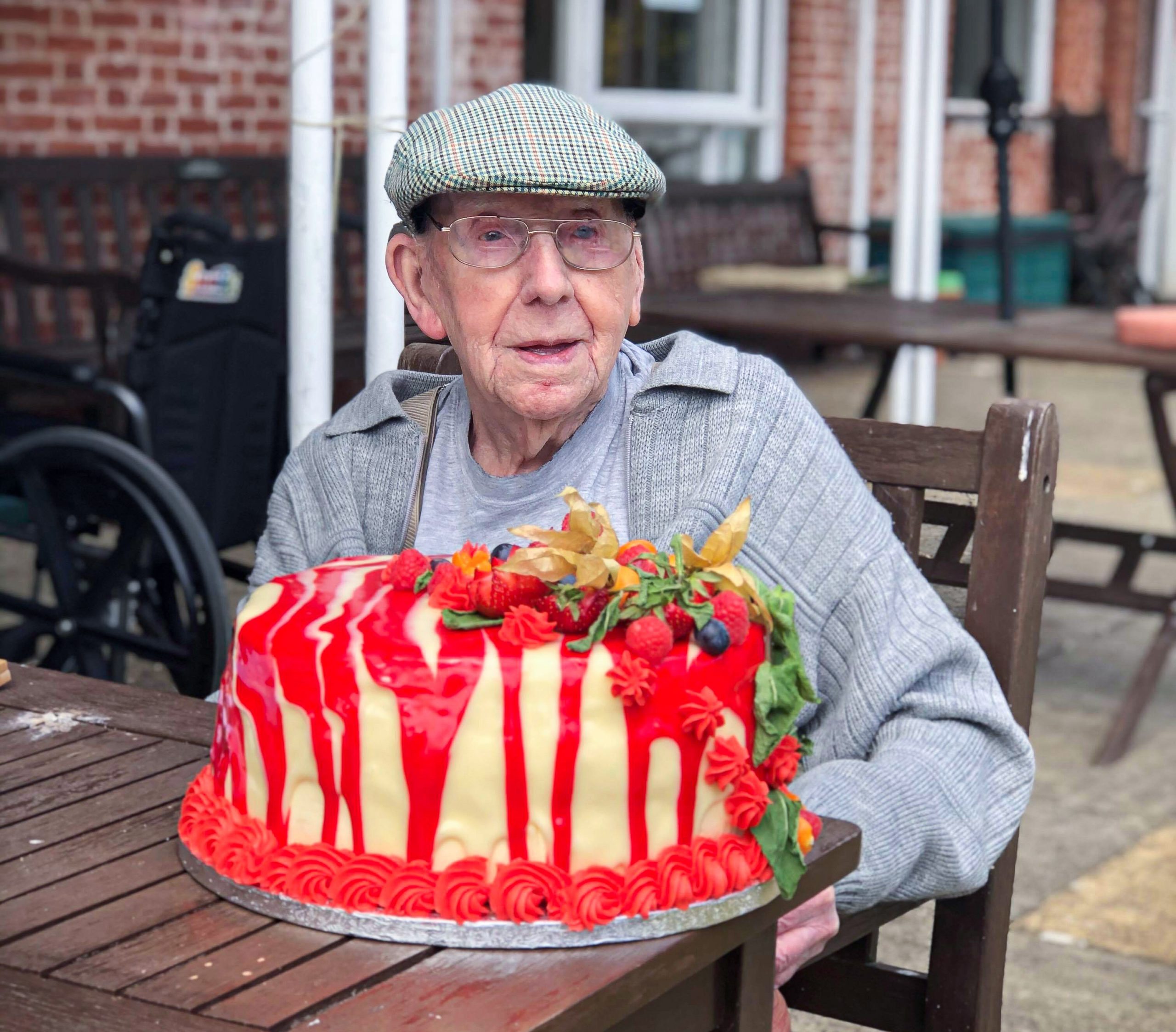Bill with his Birthday cake at The Lawn care home