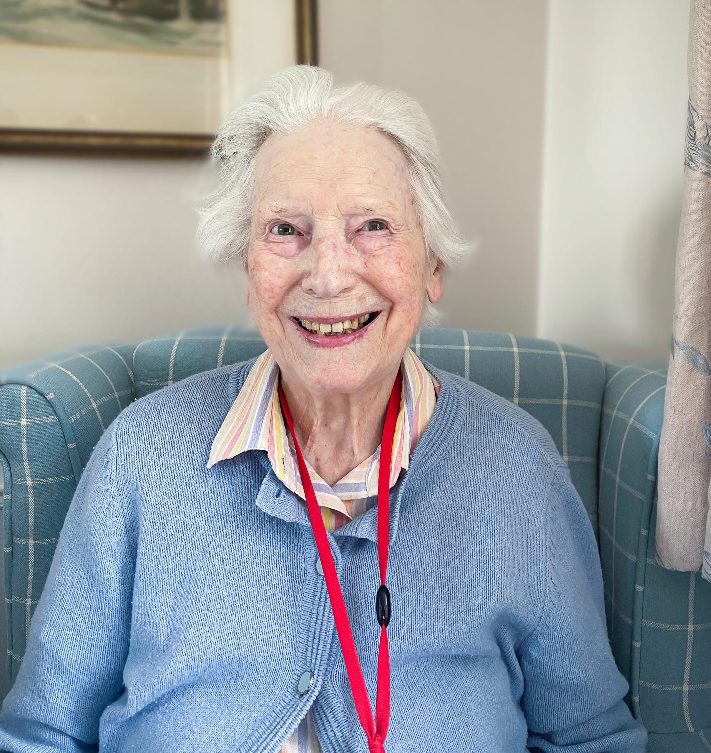 Respite to resident Zena Gay smiling