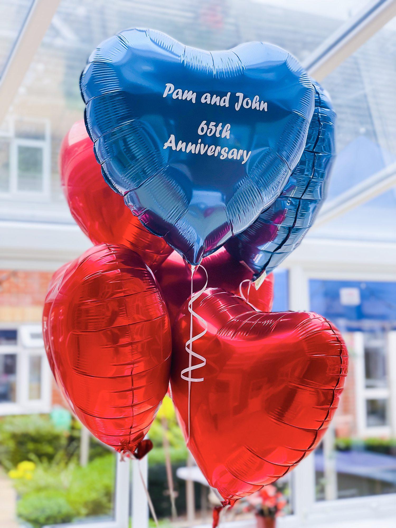 Anniversary balloons decorating Bernard Sunley care home