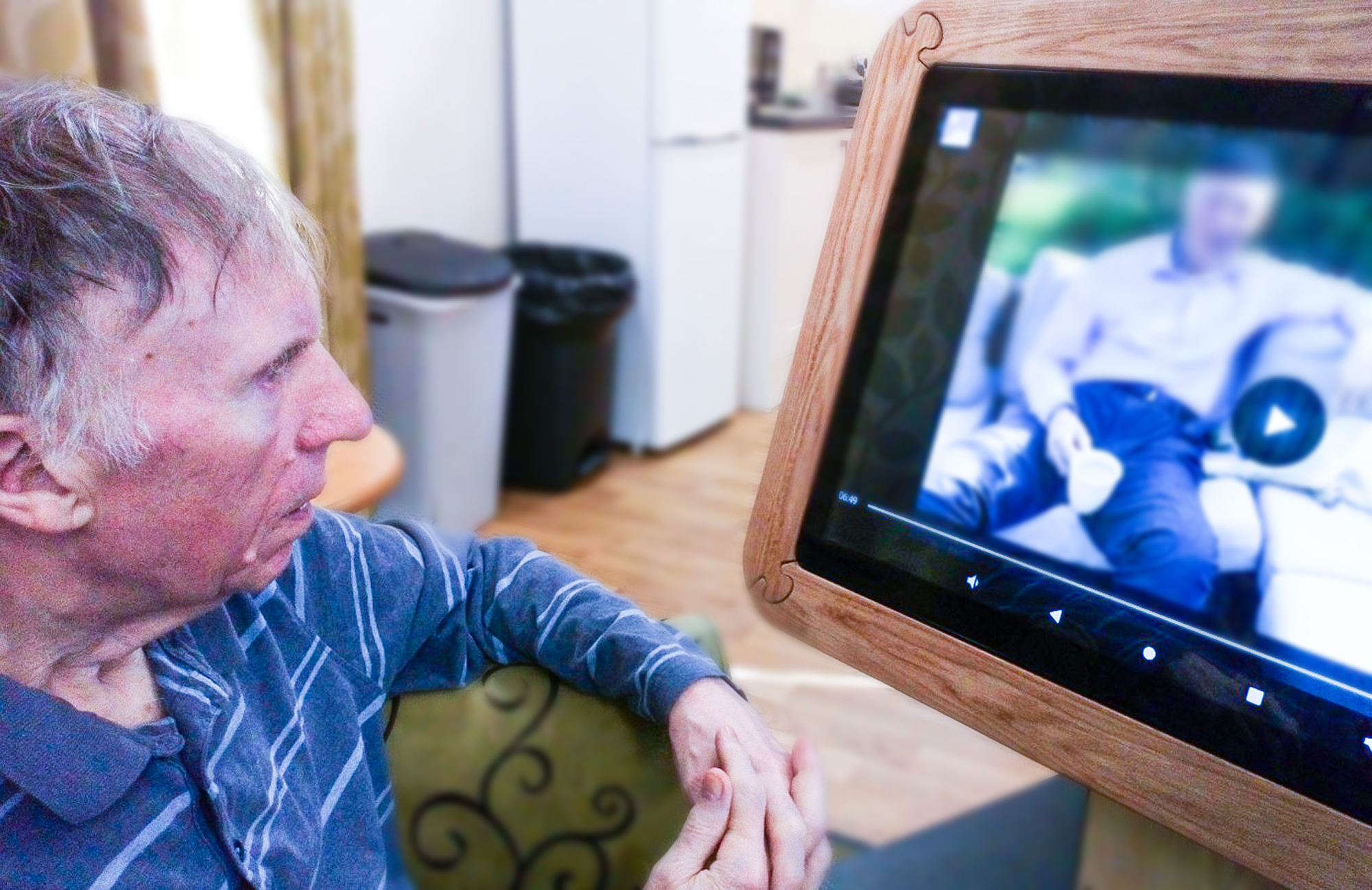 A resident using the interactive table technology.