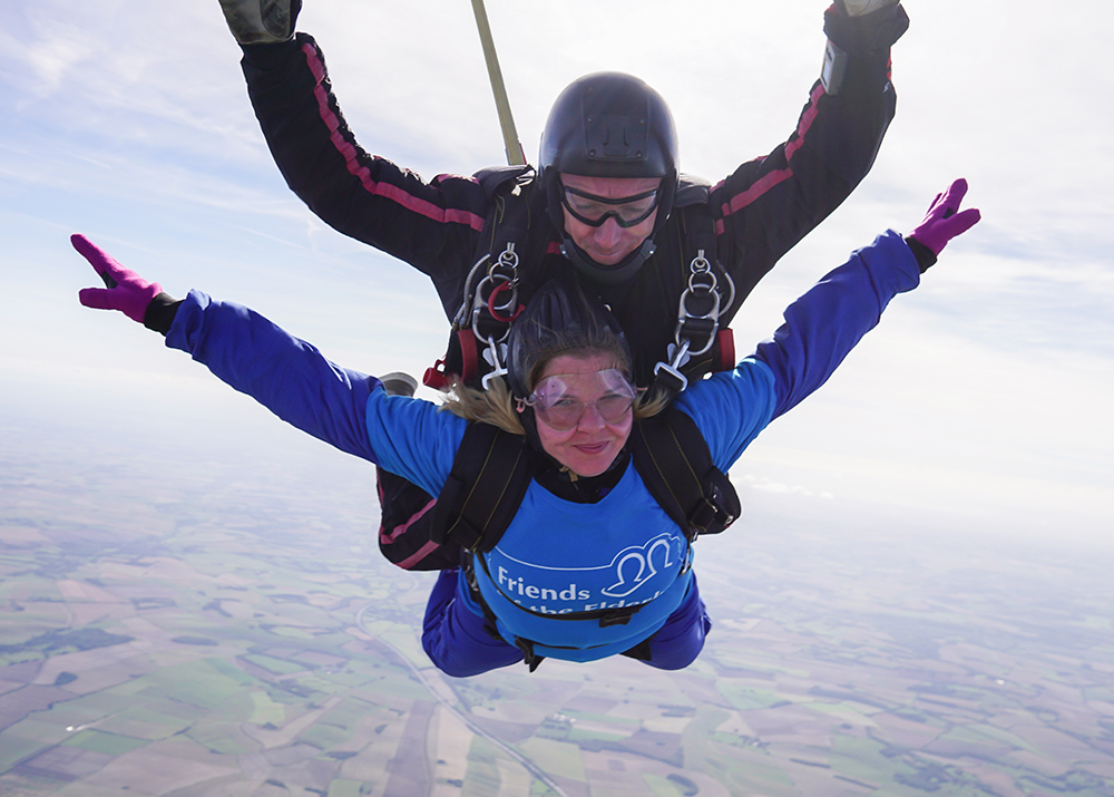 Elaine Banks on her fundraising skydive.