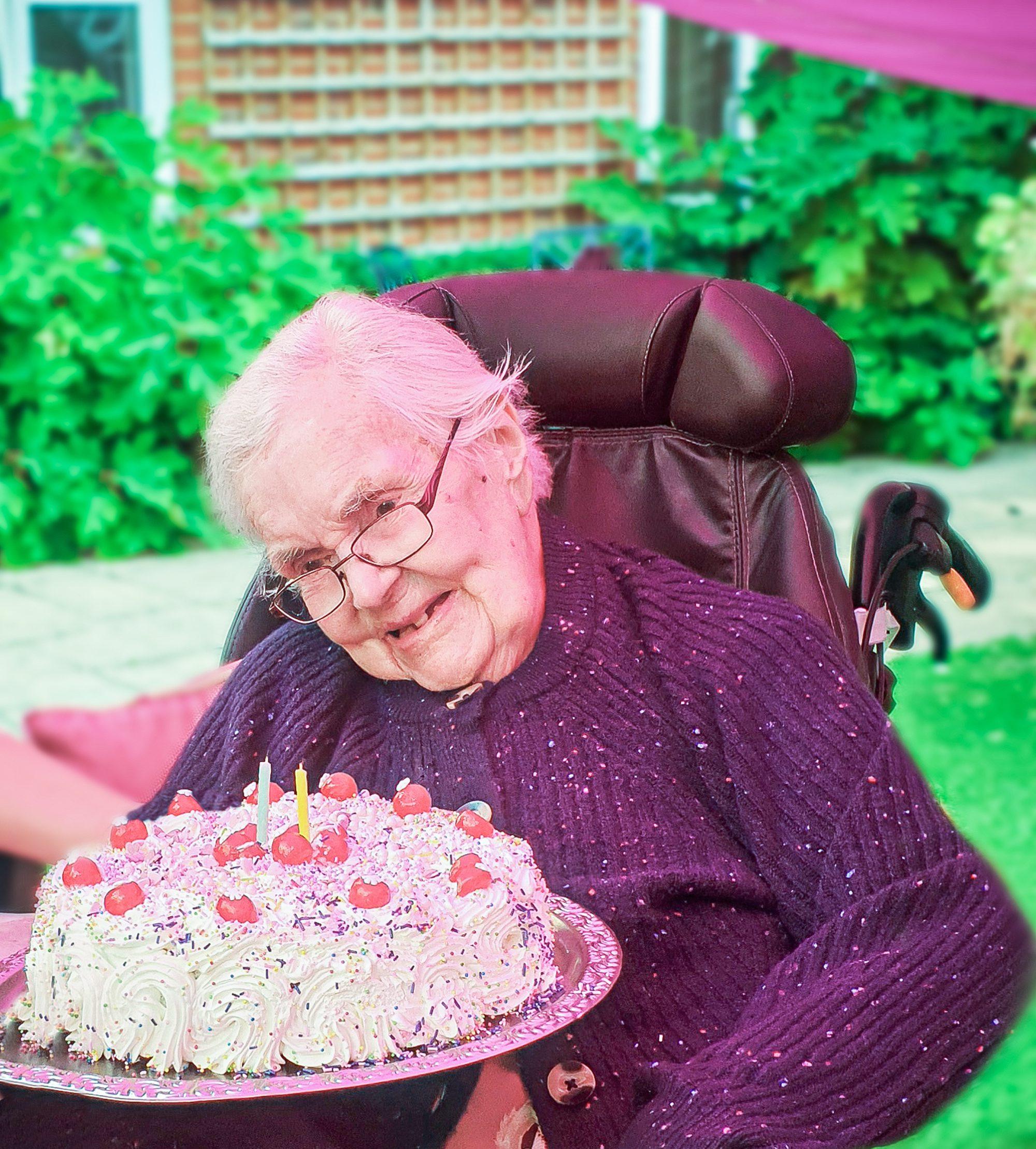 Moyra Webber on her birthday